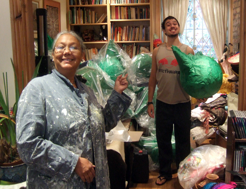 Mum and I bagging up those Sprite Goblin piñatas.