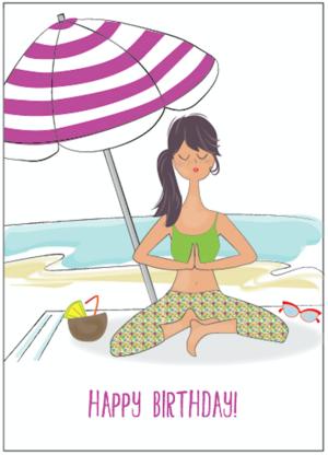 Beach Umbrella Yoga Girl
