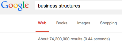 """It took Google less than half a second to find nearly 75 million results when searching for """"business structures."""""""