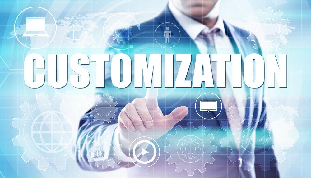 businessman pressing button on virtual screens