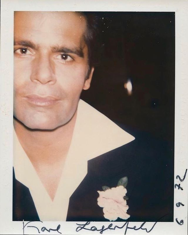 Bon Voyage to creative genius #KarlLagerfeld 🖤 Polaroid by Andy Warhol, 1972.