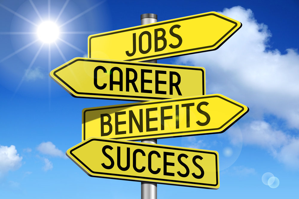 Photo showing signs that say jobs, career, benefits, succes