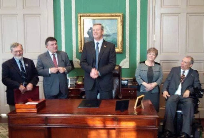 Mike at Massachusetts Statehouse with Gov. Baker and Sen. Marc Pacheco.
