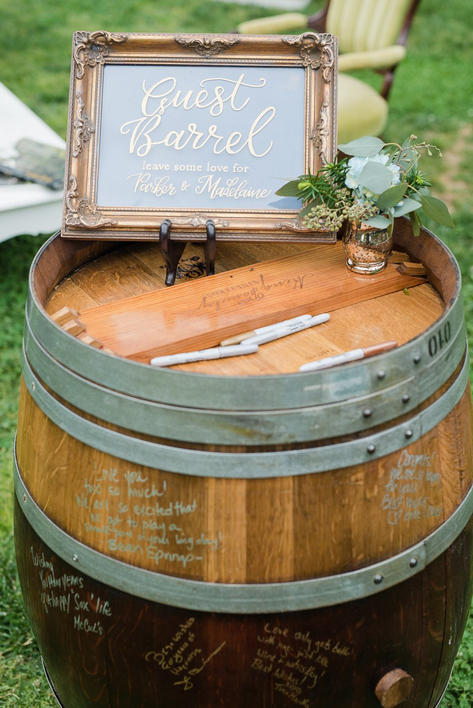 Navy blue and gold calligraphy guest barrel sign for a wedding at Seven Springs Farm in King William County Virginia as shot by Caiti Garter Photography.