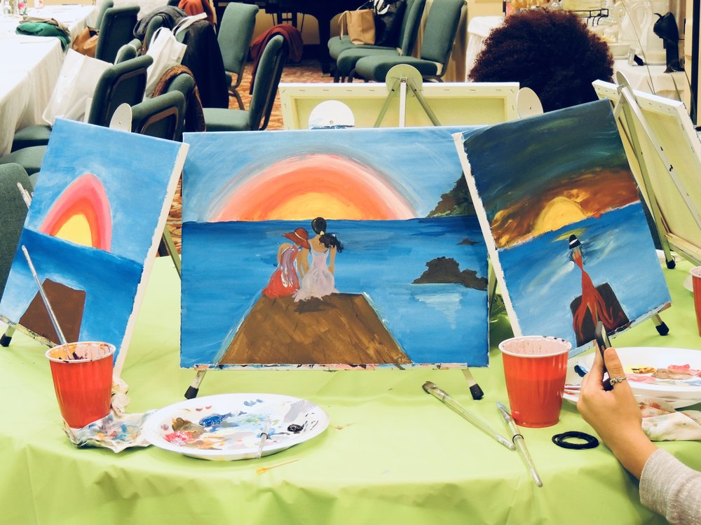 Relaxing and painting