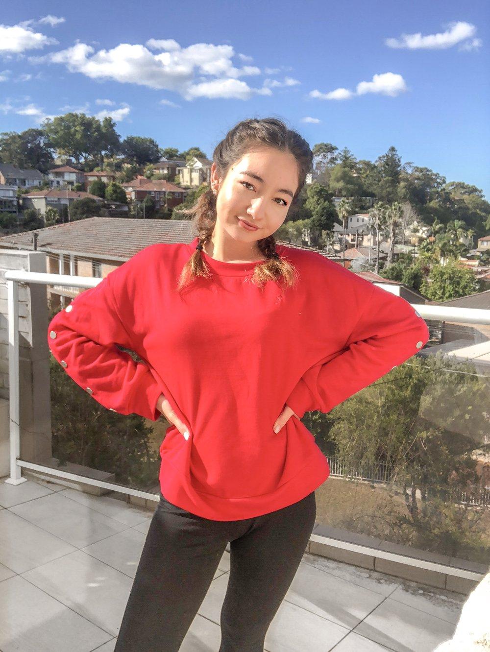oversized red jumper