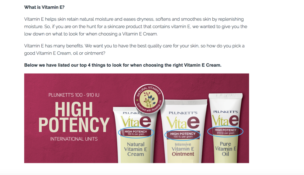 what to look for in a vitamin E cream Plunkett's