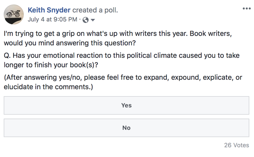 Book writers: Has your emotional reaction to this political climate caused you to take longer to finish your book(s)?