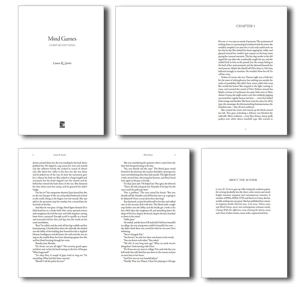 This is a real series I design for  Laura K. Curtis . By agreement with the author, I used it to develop Typeflow's new standard look for novels.