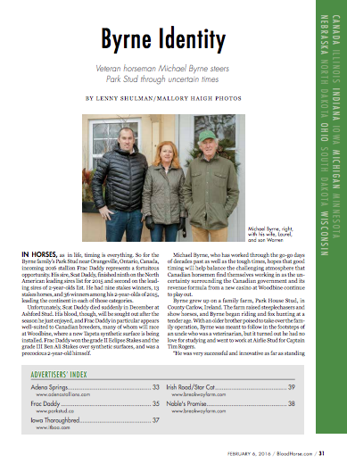 Read more about the history of Park Stud in Lenny Shulman's Bloodhorse Article.