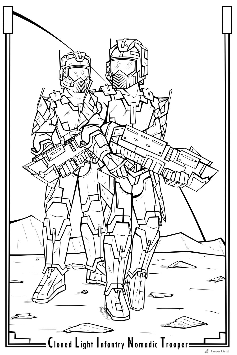 C.L.I.N.T.s 4159 and 4158. Even behind those helmet plates, their oh so punchable faces are visible. Illustration by rebel artist  Jason Licht .