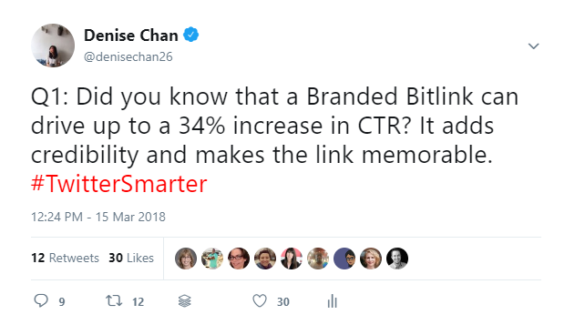Denise Chan on Twitter   Q1  Did you know that a Branded Bitlink can drive up to a 34  increase in CTR  It adds credibility and makes the link memorable   TwitterSmarter .png