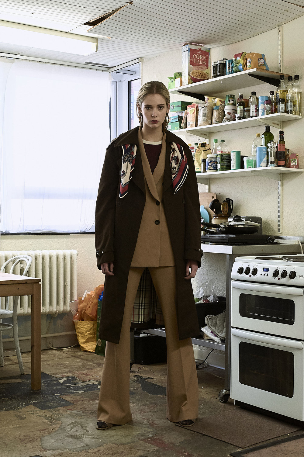 Suit by  Zara , t-shirt at  Urban Outfitters , Coat is  Vintage Burberry's , scarf is vintage, earrings  Topshop