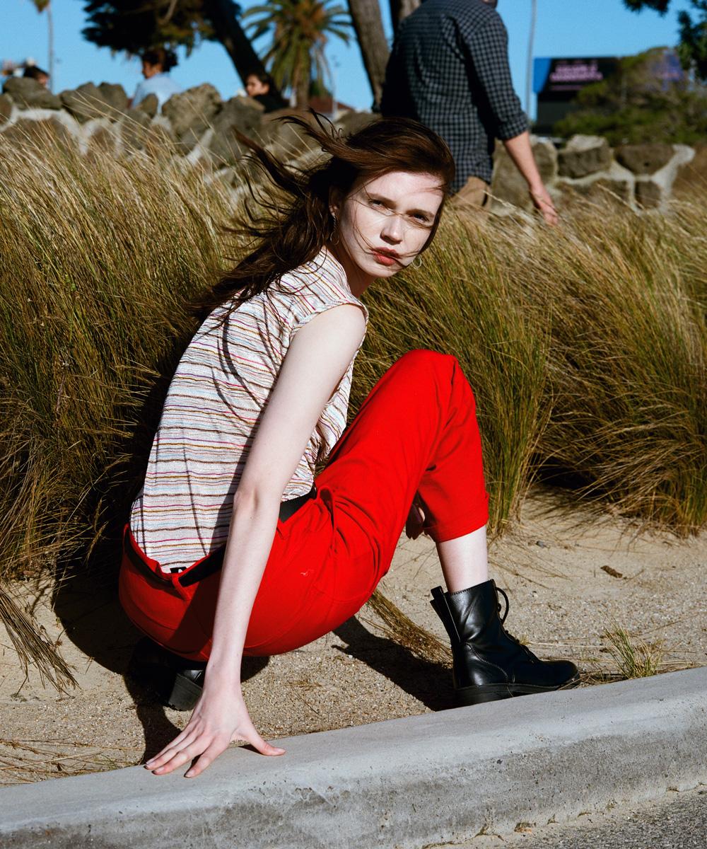 Holly wearing Top: Vintage Pants:  Perks and Mini  Earrings: Vintage
