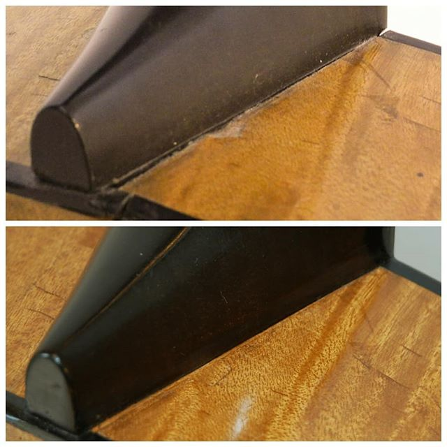 Here is another before and after picture of the Lacote restoration. You can see that the neck was about to come off, and some tiny pieces were lost. . . . . #classicalguitar #classicalguitarmaking #luthier #guitarbuilder #guitarmaking  #whatsonyourbench  #wood  #woodworking #workshop #workbench #guitartop #guitarporn #musicalinstrument #berlin #boutiqueguitars #instaguitars #guitarsofinstagram #guitarsarebetter #berlinluthiers #guitarrestoration #restoration #guitarrepair #lacote #vintageguitar #romanticguitar #oldguitar #19centuryguitar