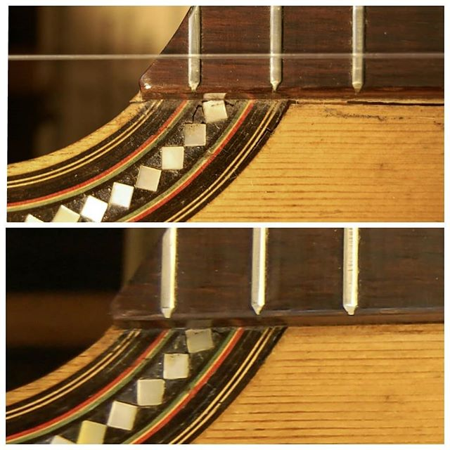 Restoration of a Domingo Esteso guitar. The guitar had a typical shrinking crack besides the fingerboard. . . . . #classicalguitar #classicalguitarmaking #luthier #guitarbuilder #guitarmaking  #whatsonyourbench  #wood  #woodworking #workshop #workbench #guitartop #guitarporn #musicalinstrument #berlin #boutiqueguitars #instaguitars #guitarsofinstagram #guitarsarebetter #berlinluthiers #guitarrestoration #restoration #guitarrepair #vintageguitar #oldguitar