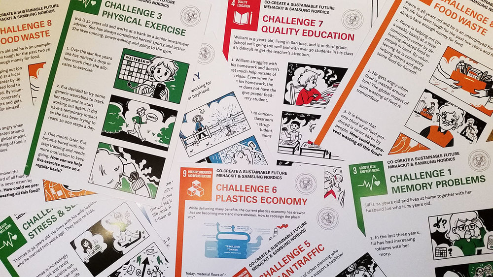 Sustainability challenges presented with illustrated posters