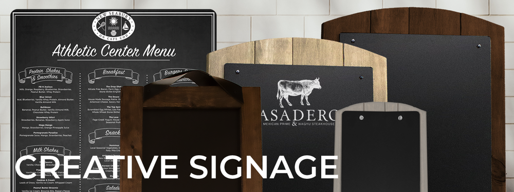 Creative small and large-scale display signage handcrafted with printed chalk signs and real wood. Signage : Chalk Sign, Counter Talker, Street Talker, Wall Hanging Menu Board, Floor Talker, Magnet Signs.