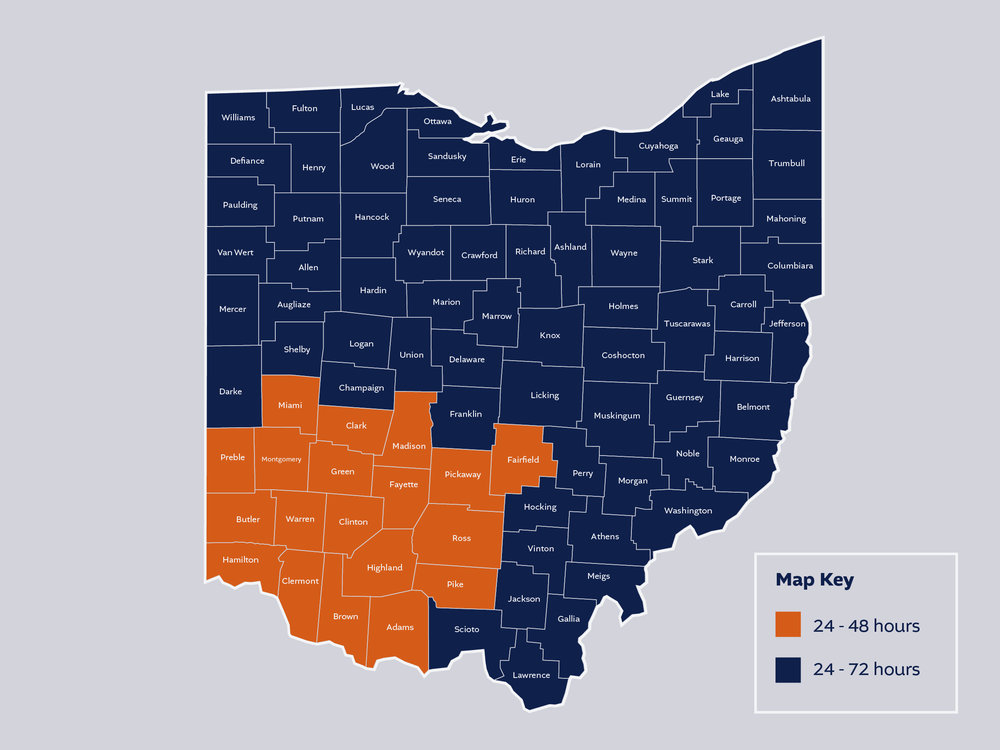 Ohio Areas of Service