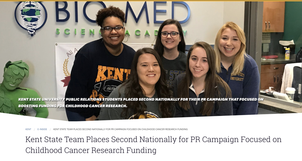 Kent State Team Places Second Nationally for PR Campaign Focused on Childhood Cancer Research Funding