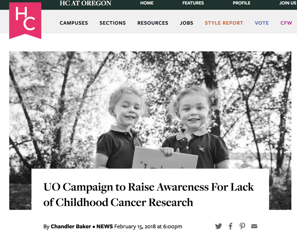 UO Campaign to Raise Awareness For Lack of Childhood Cancer Research