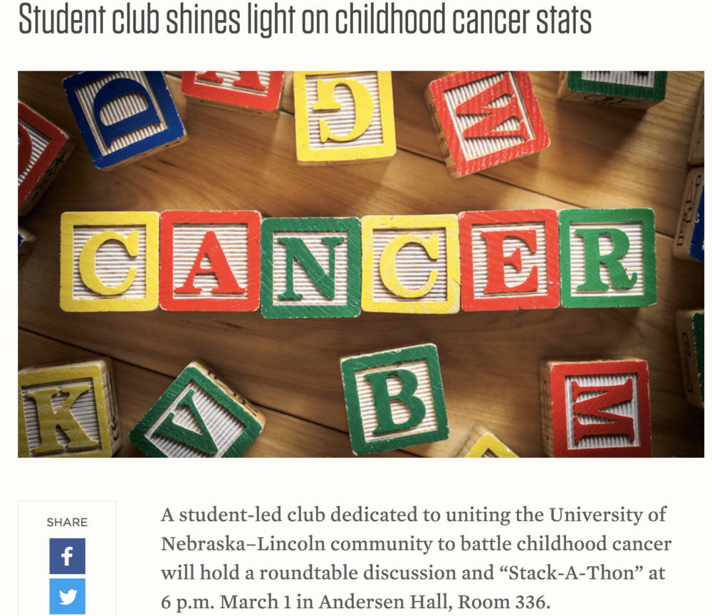 Student club shines light on childhood cancer stats