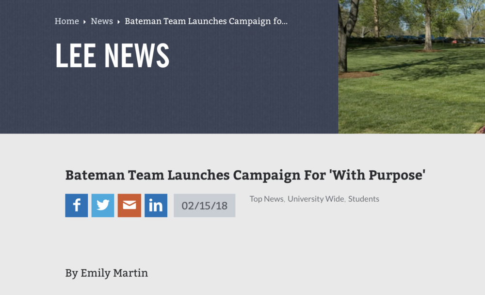 Bateman Team Launches Campaign For 'With Purpose'