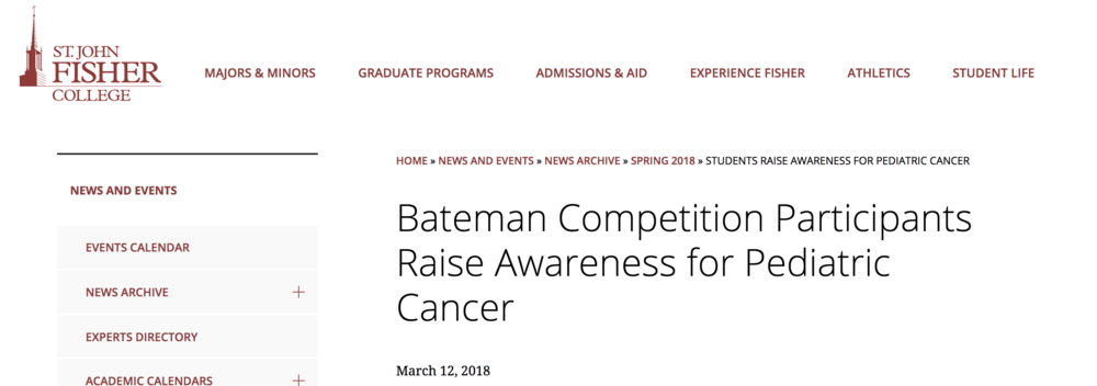 Bateman Competition Participants Raise Awareness for Pediatric Cancer
