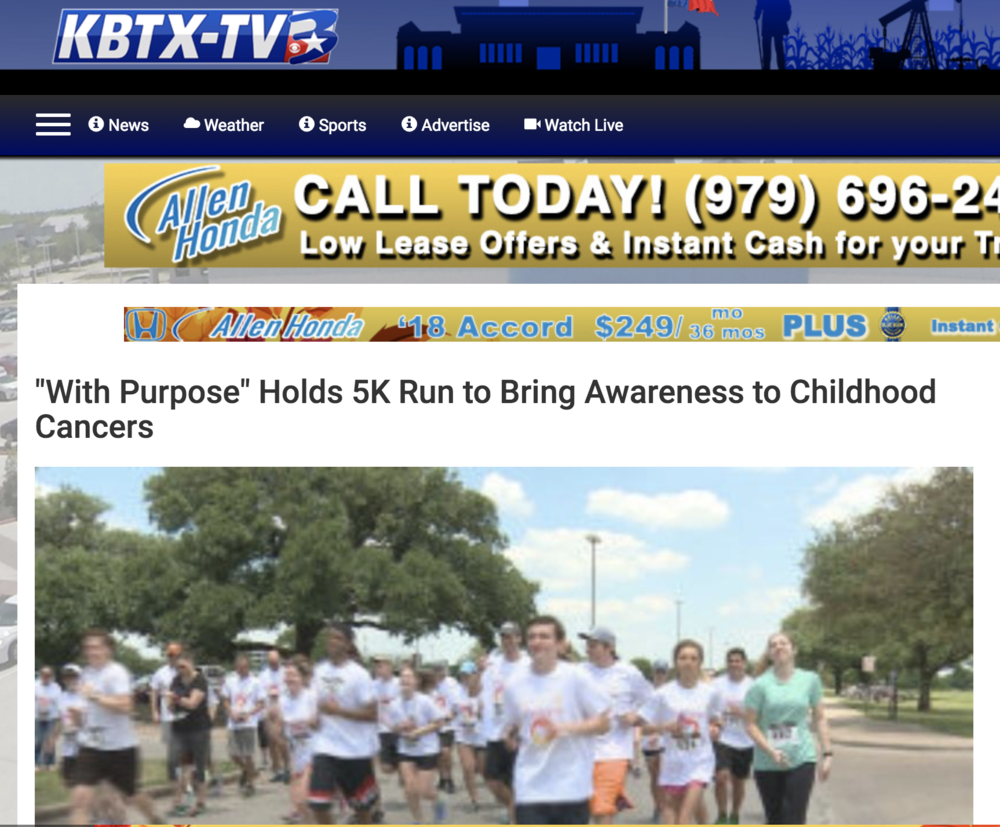 'With Purpose' Holds 5K Run to Bring Awareness to Childhood Cancers