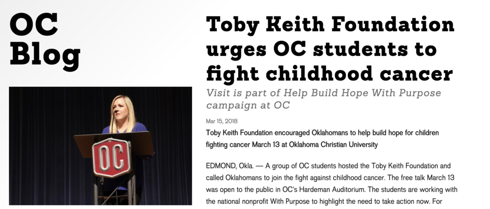 Toby Keith Foundation urges OC students to fight childhood cancer