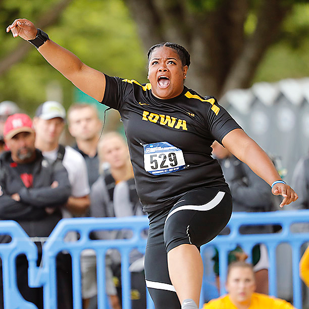 Laulauga Tausaga and Jahisha Thomas advance to The NCAA Championships while two boys from Monticello, Iowa, battle their way into a quarterfinal race. #NCAATF #Hawkeyes #WeAreOne (📷Darren Miller/hawkeyesports.com)