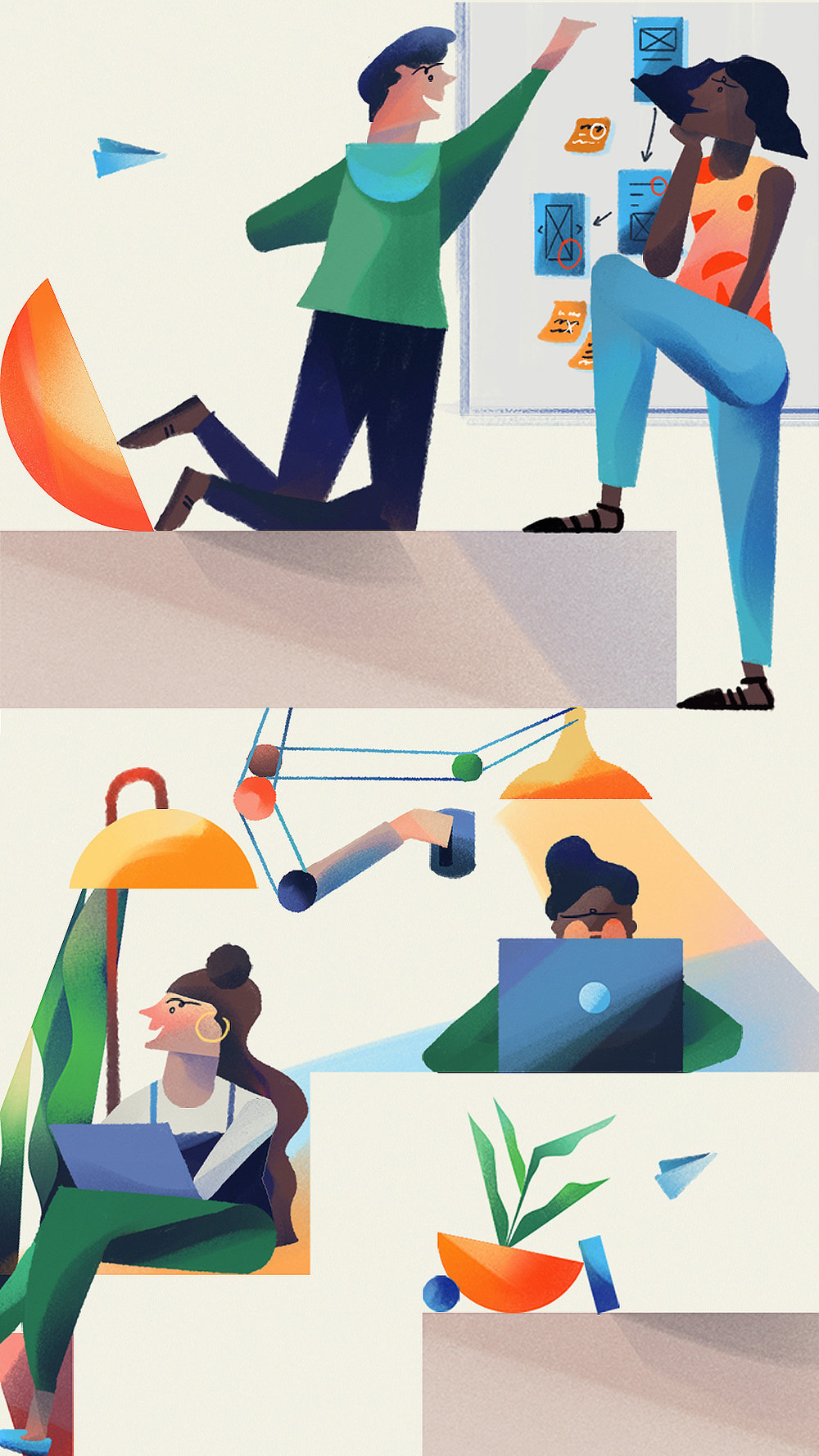 Intercom - An illustration about marrying marketing and product design for Intercom's blog.