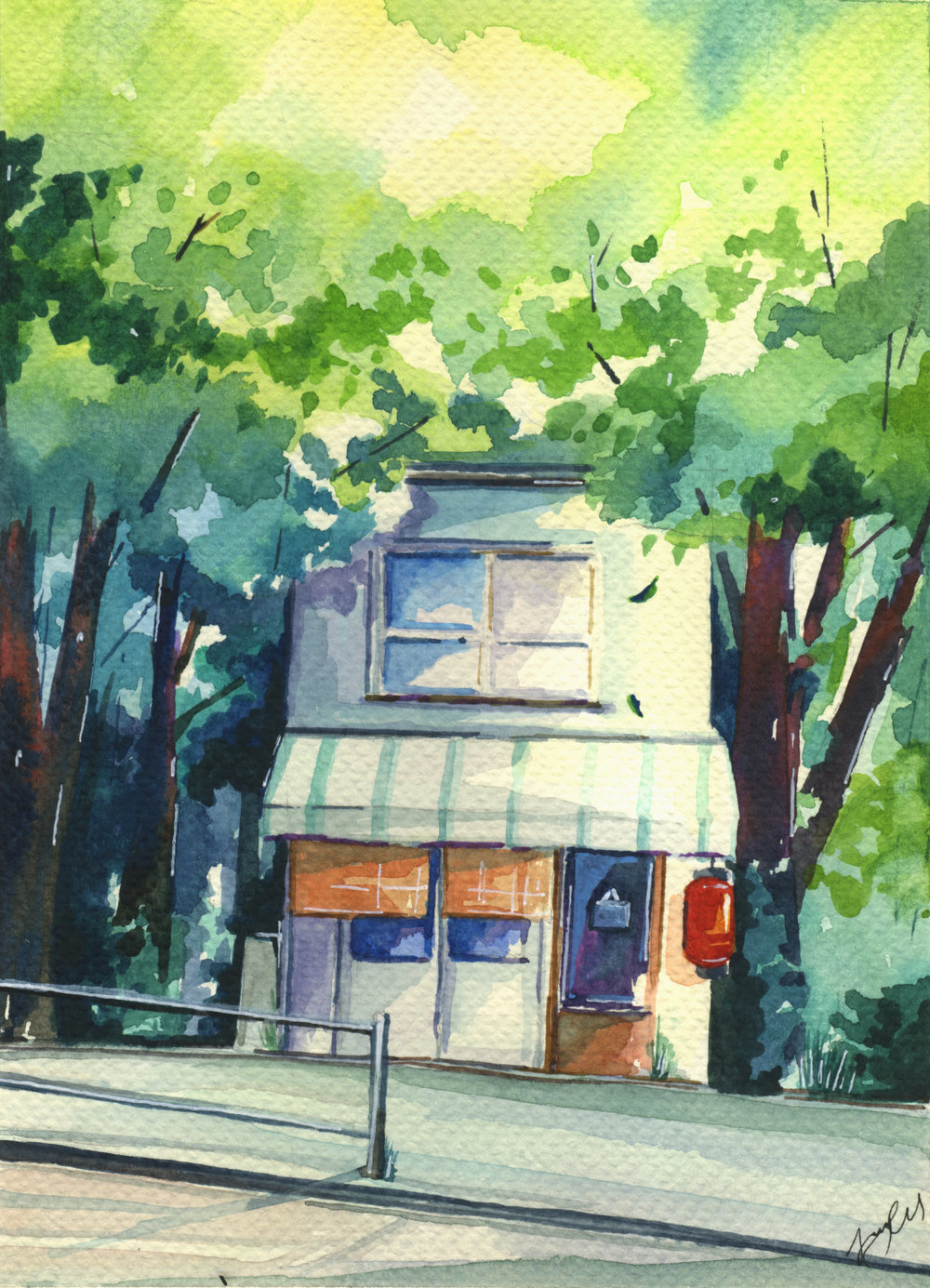 Little Shop (Watercolours and pen)