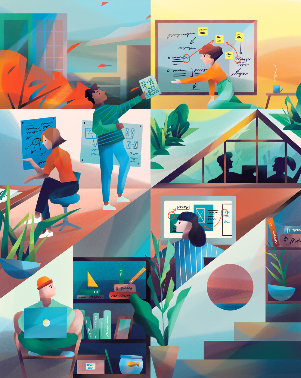 The New Work - Illustration for a new magazine made by the Birch Agency - dedicated to supporting people who are passionate about re-thinking the 9-5 grind and doing something they believe in.