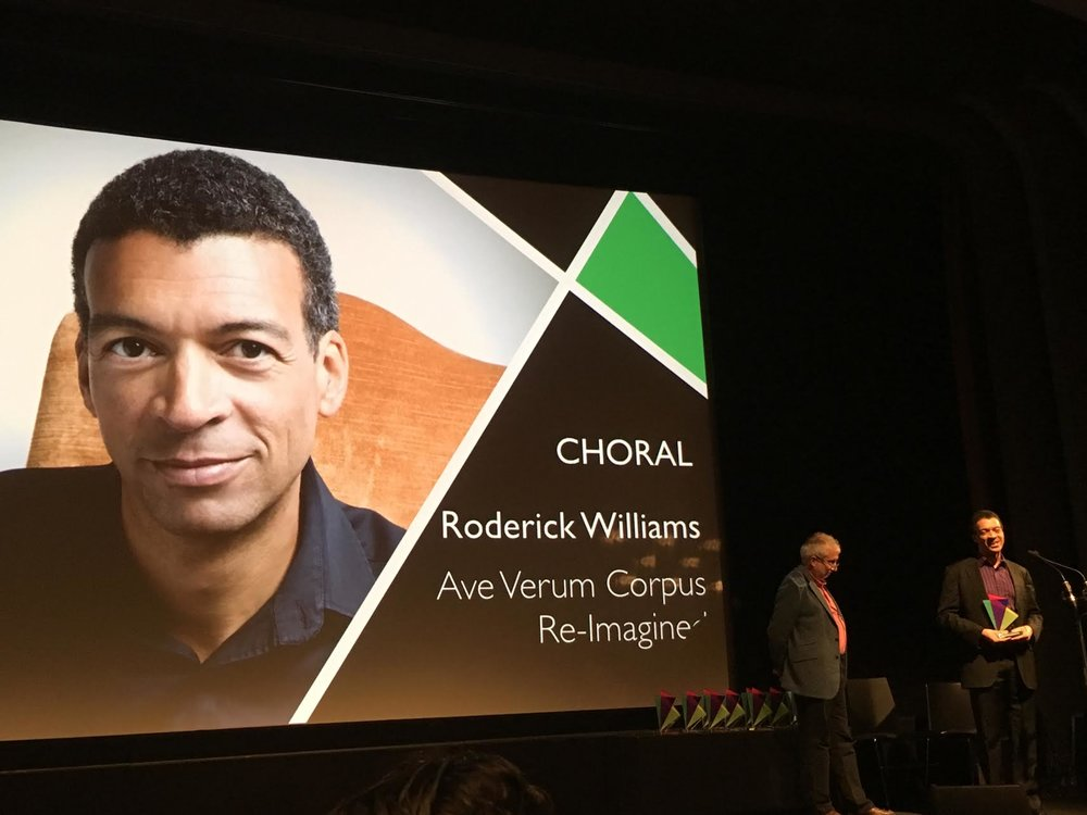 Roderick Williams at the British Composer Awards, 6th December 2016, accepting his Award at the BFI Southbank