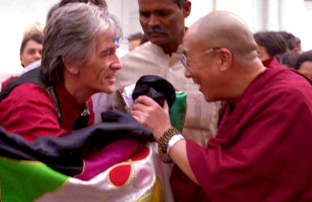 Dheeraj - the founder of Tibetan Pulsing - and the Dalai Lama
