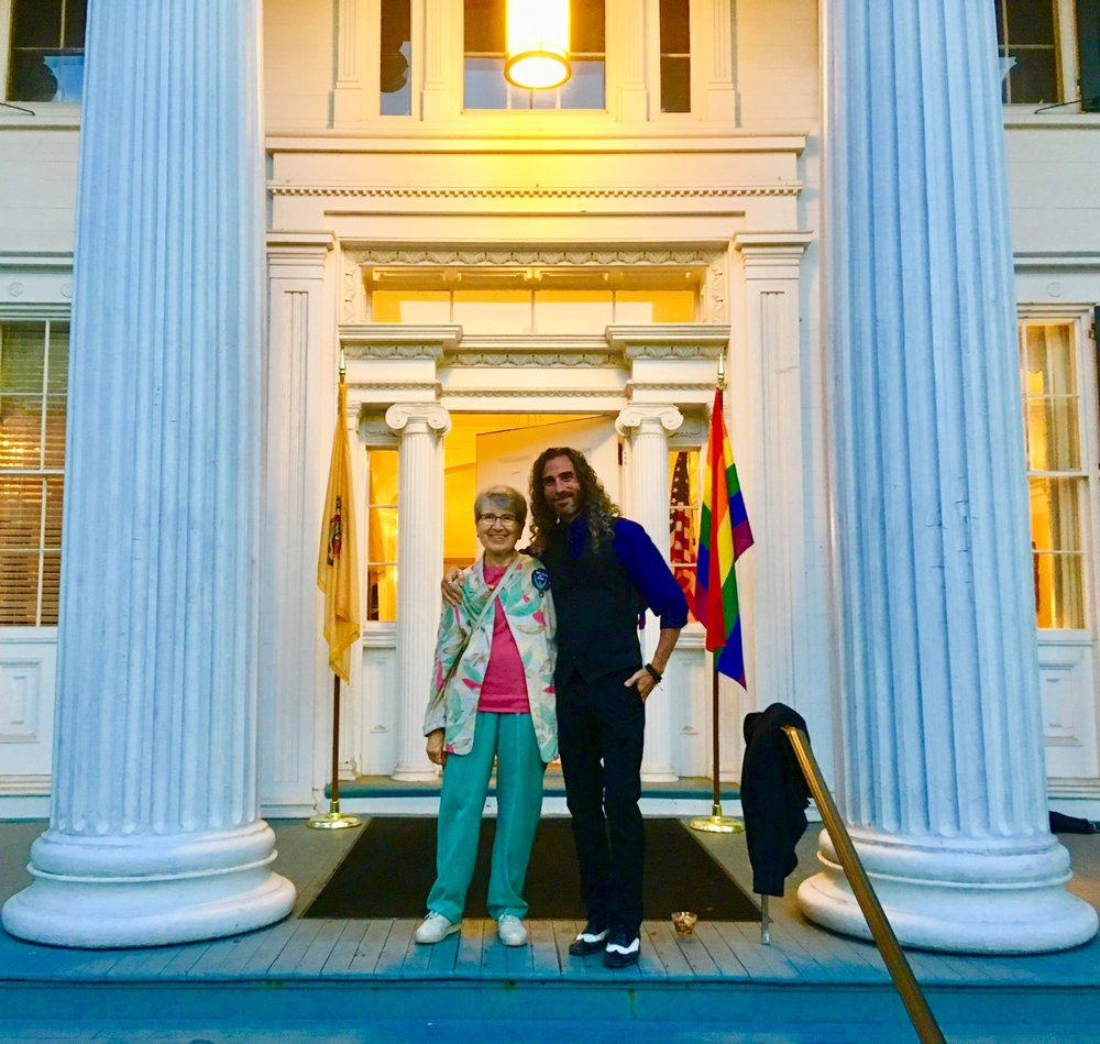 BRCSJ Chief Activist Robt Seda-Schreiber with Board Member Carol Watchler (proud @ Pride Reception, Governor's Mansion).jpg