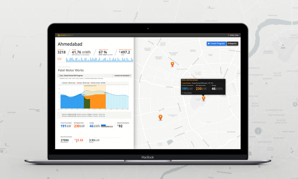SmartSense for the power utility company, a map based interface to track, manage and offer demand response programs to their customers