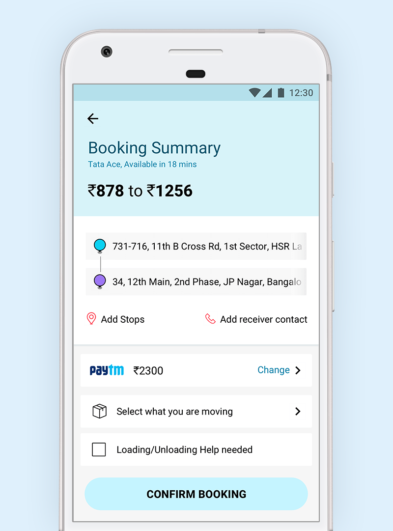 Booking summary