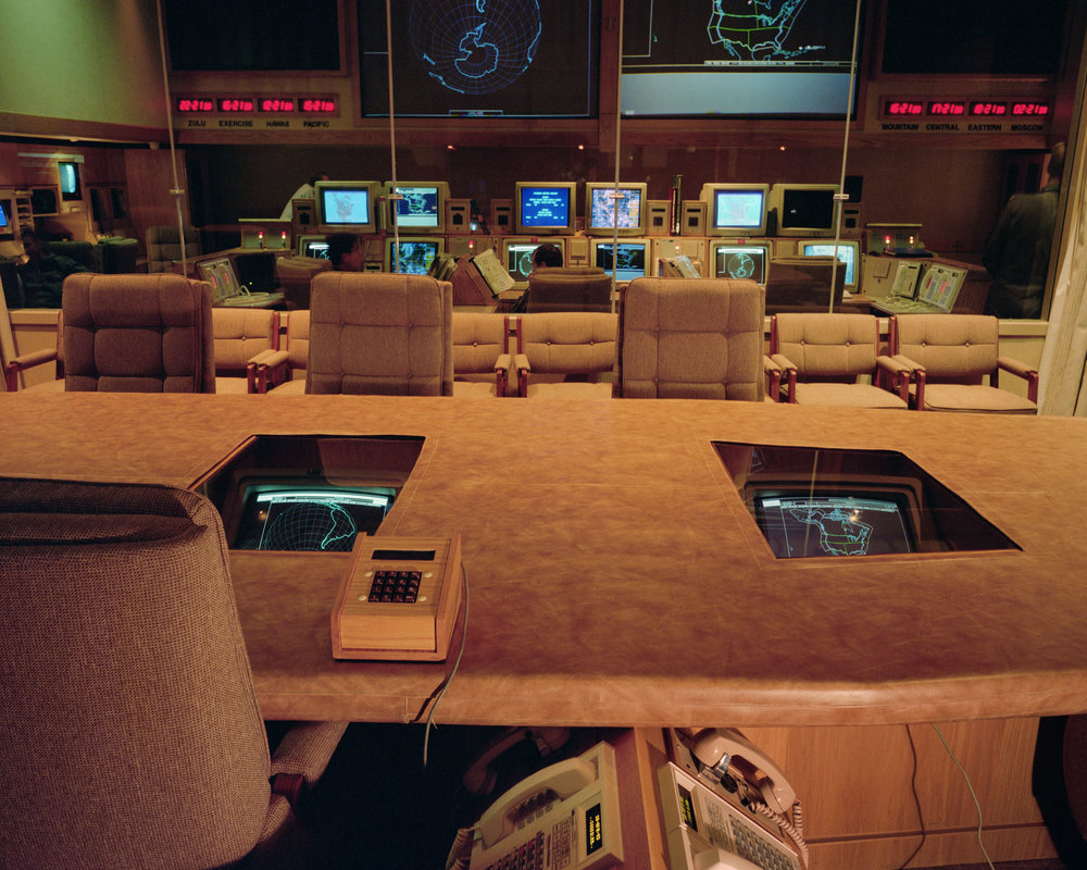 "Commander in Chief of NORAD's (CINCNORAD) seat in Command Center ""Battle Cab"", NORAD/USSPACECOM Command Center, Cheyenne Mountain Operations Center, Colorado Springs, Colorado, 1993."