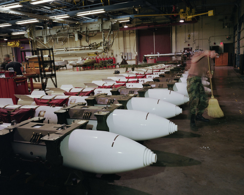 B83 nuclear gravity bombs in Weapons Storage Area, Barksdale Air Force Base, Louisiana, 1995.