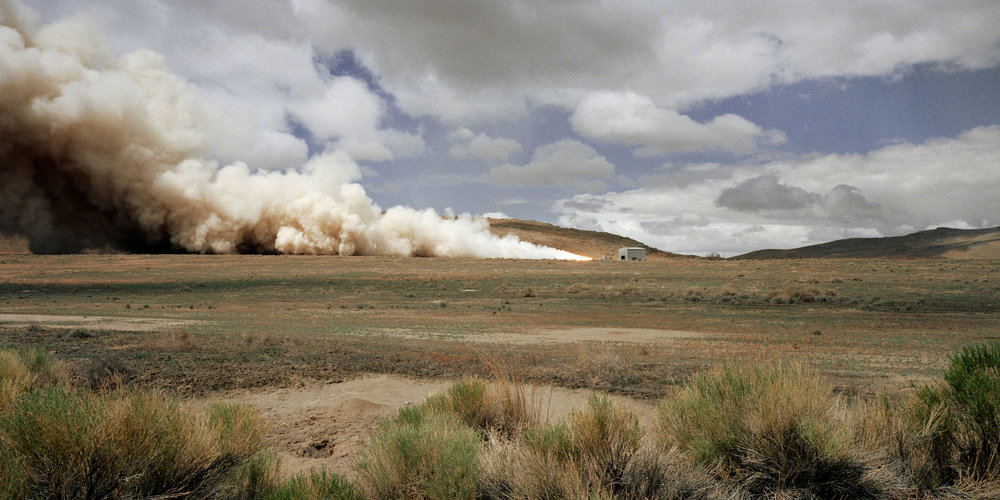Minuteman III missile stage 1 static test firing, Utah Test and Training Range, 2001.