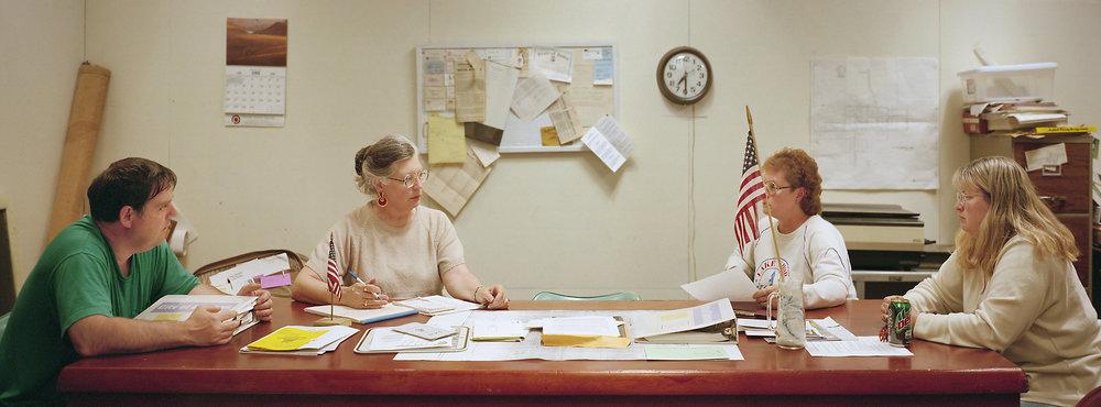 Dawson, Iowa (population 174) City Council, June 1, 1999 (L to R): Burl Corrigan, Patty Krueger (Clerk), Judy Eastman, Theresa Krueger (Mayor pro tem), 1999.