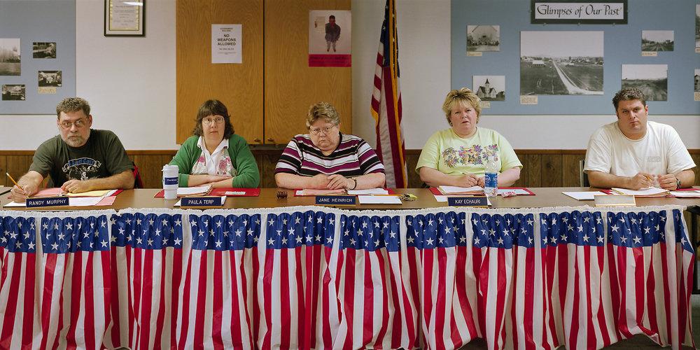 Yamhill, Oregon (population 790) City Council, April 9, 2003 (L to R): Randy Murphy, Paula Terp, Jane Heinrich (Mayor), Kay Echauri, Jeff Breazile, 2003.