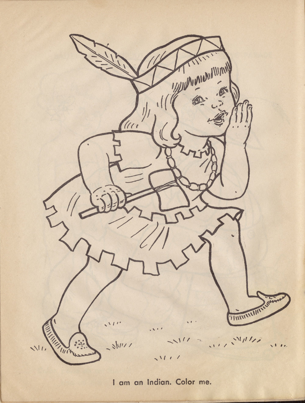 Artist unknown, from children's coloring book, title and publisher unknown, illustration.