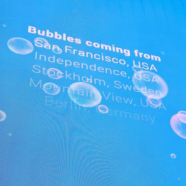 I love how Google always has an interactive component to their keynote! Go bubbles! #googleio #techconference