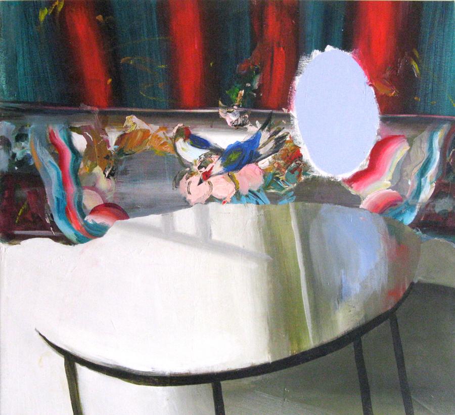 "Blue Mirror Table 28"" x 31"""