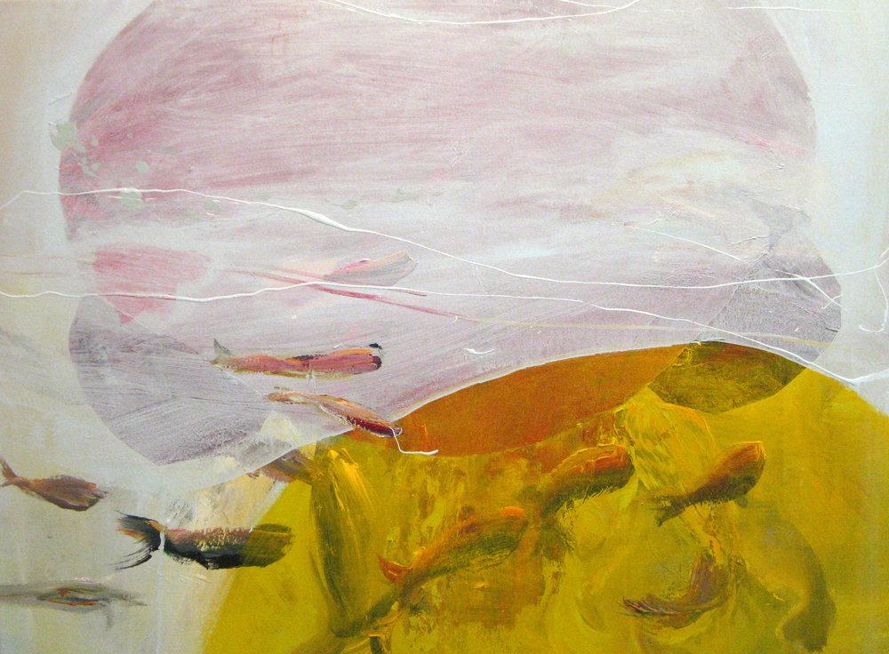 "Yellow Bubble Fish 28"" x 38"""