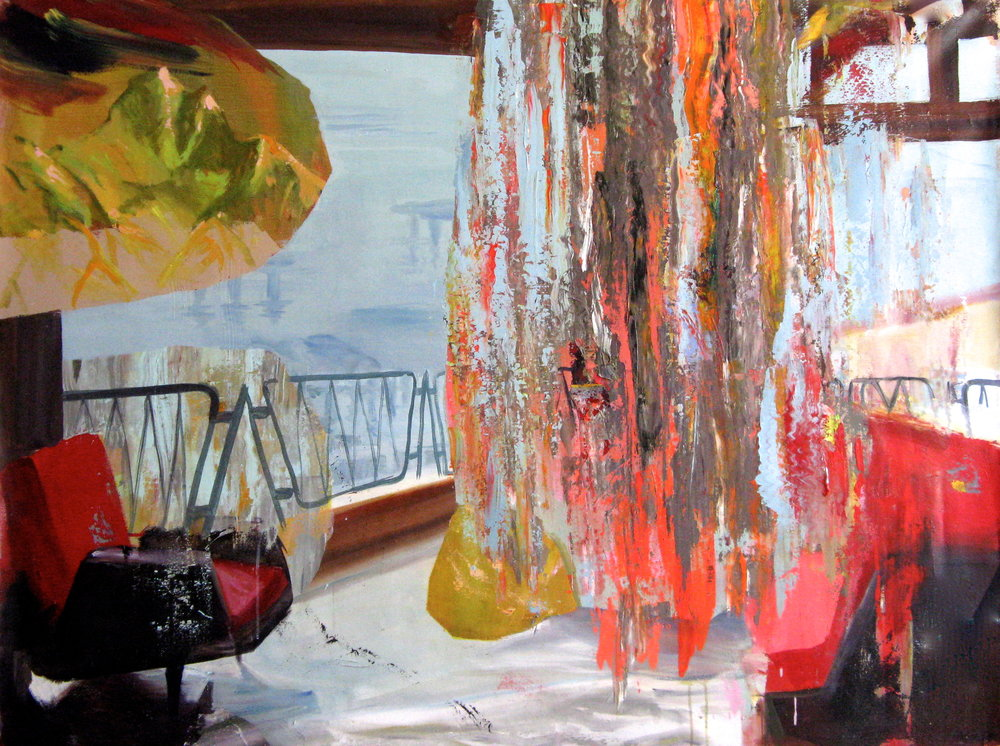 "Two Red Chairs 50"" x 66"""