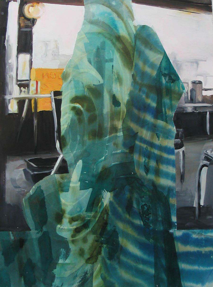 "Burqa Green 15"" x 11"" gouache and watercolor"